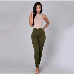 Olive green FashionNova high waisted jean size 9